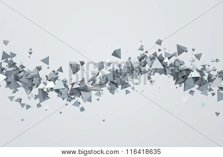 Abstract 3D Rendering of Flying Triangles.