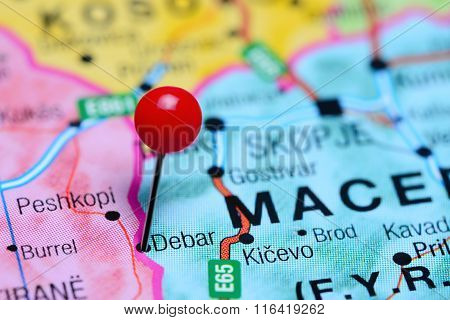 Debar pinned on a map of Macedonia