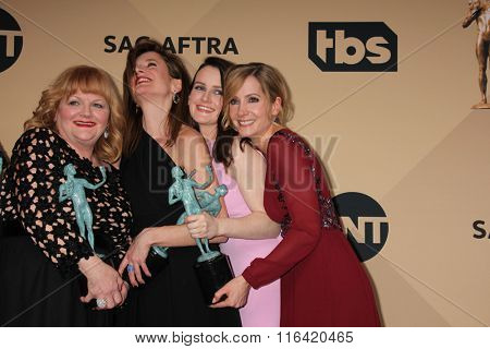 LOS ANGELES - JAN 30:  Lesley Nicol, Raquel Cassidy, Sophie McShera, Joanne Froggatt at the 22nd Screen Actors Guild Awards at the Shrine Auditorium on January 30, 2016 in Los Angeles, CA