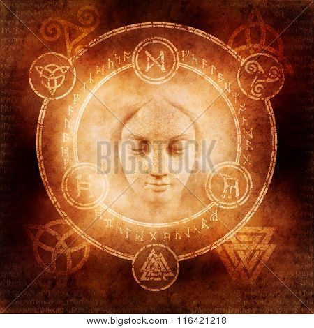 Pagan White Magic design with a mysterious female face materialising within a magic circle of elaborate pagan and runic symbols. poster