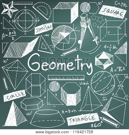 Geometry Math Theory And Mathematical Formula Chalk Doodle Handwriting Icon In Blackboard Background