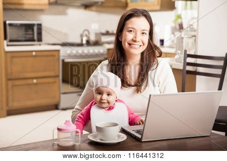 Happy Mom Working From Home