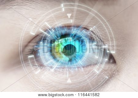 Close-up of woman's eye technologies, Contact lens, Cataract