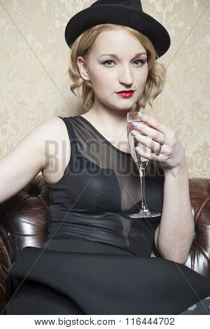 Lady With A Glass Of Champagne