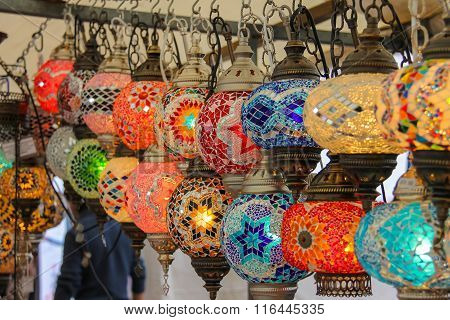 Sale Of Mosaic Glass Lamps At The Street Shop On The Grote Markt In Haarlem, The Netherlands