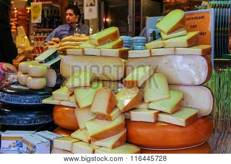 Shelves With Famous Dutch Cheese In The Traditional Cheese Shop In Haarlem, The Netherlands