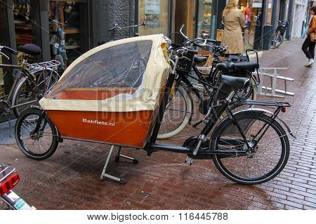 Cargo Bike With Protect Tent Parking On The Street In Haarlem, The Netherlands