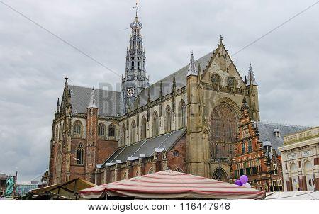 The Grote Markt In Haarlem. View To The Grote Kerk (sint-bavokerk). The Netherlands