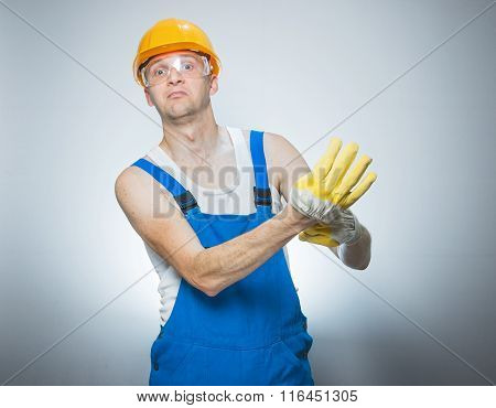 Funny Young Builder