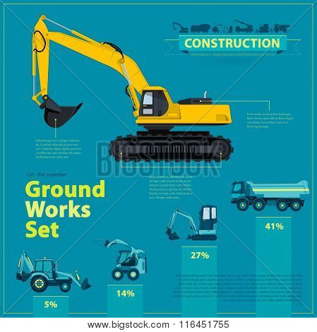 Blue infographic big set of ground works blue machines vehicles. Catalog page. Heavy construction equipment for building truck digger crane bagger mix roller excavator transportation master vector. poster