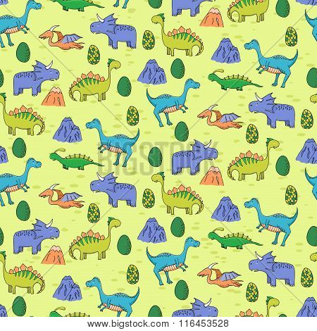 Seamless Pattern With Different Cute Dinosaurs, Mountauns And Eggs In Cartoon Style. Can Be Used For