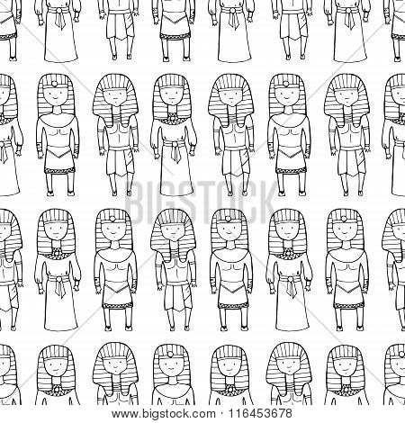 Seamless Pattern With Cute Pharaohs