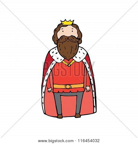 King With A Crown In Cartoon Style