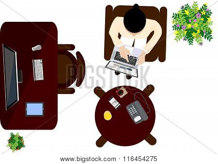 workplace office top view workspace- vector illustration