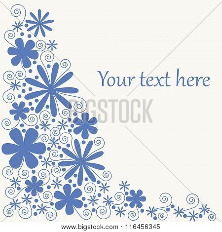 Blue Flowers Side-frame With Place For Text. No Mesh, Gradient, Transparency Used. Objects Grouped A