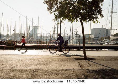 Promenade at the marina in Barceloneta