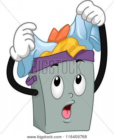 Mascot Illustration of a Hamper overloaded with dirty clothes