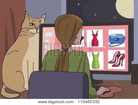 girl browses at internet shopping site