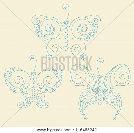 Set Of Three Blue Patterned Butterflies On Light-yellow Background. No Mesh. Gradient, Transparency