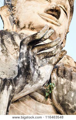 Buddha statue's hand Generally in Thailand