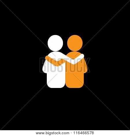 Friends Hug Each Other, Deep Relationship & Bonding - Vector Icon