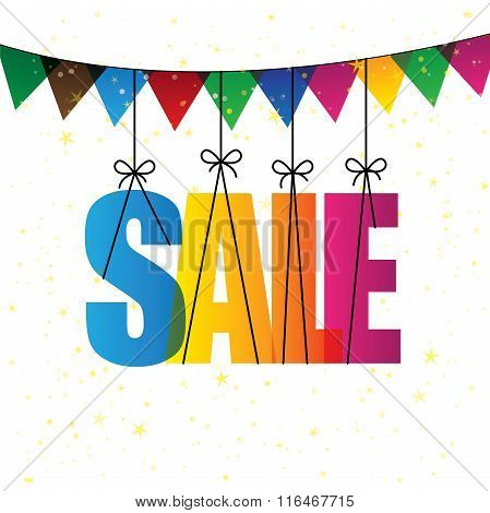 Sale Words With Colorful Confetti Or Bunting - Vector Graphic Icon.