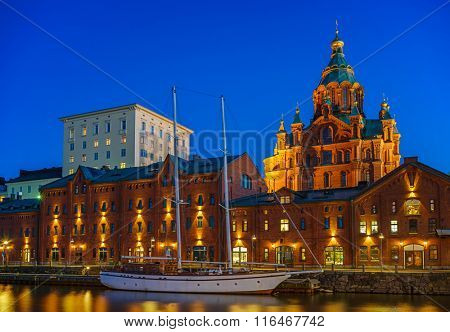 Nightview of Uspenski Cathedral in Helsinki, Finland
