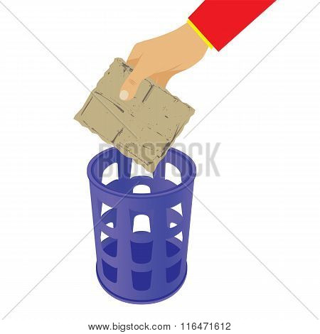 Hand Throwing Trash In The Waste Basket.