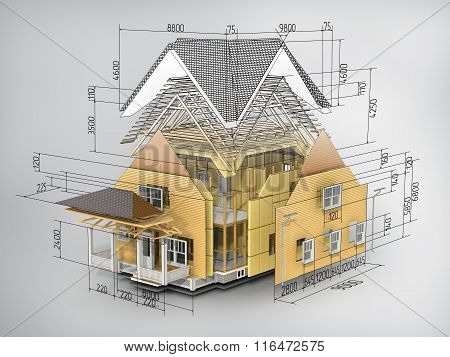 Concept Of Construction. We See Constituents Of Roof Frame And Insulation Layer With Dimensions.
