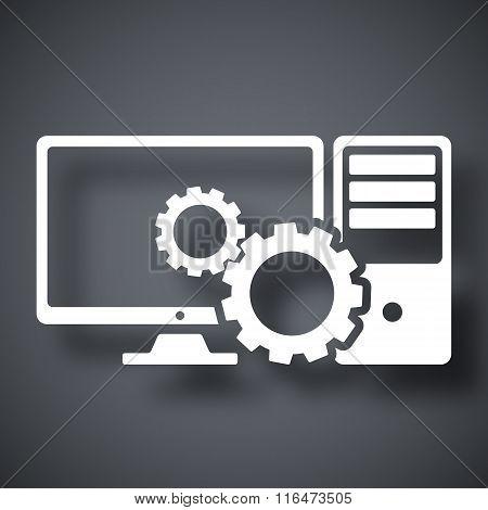 Computer Settings Icon, Stock Vector
