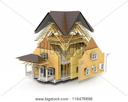 Concept Of Construction. We See Constituents Of Roof Frame And Insulation Layer.
