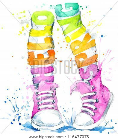 Watercolor Teenager girl in sneakers