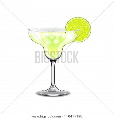 Margarita Cocktail Isolated On White Vector