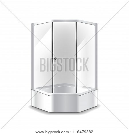 Shower Cabin Isolated On White Vector