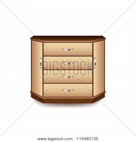 Drawer Isolated On White Vector