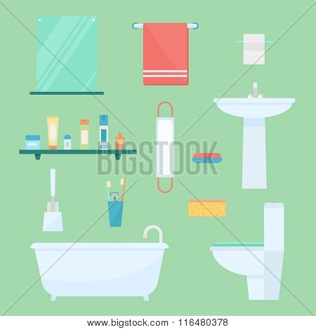 Bathroom Elements In Flat Style