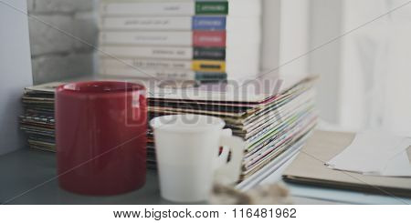 Objects Book Phonograph Record Coffee Concept