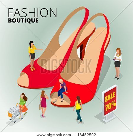 Fashion boutique shop, variety of the colorful leather shoes in the shop, woman using digital tablet