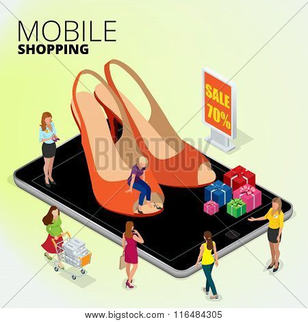 Fashion boutique shop online, Woman using digital tablet to shop online, women shopping for shoes in