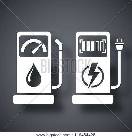 Gas Station And Charging Station For Electric Car, Vector Icon