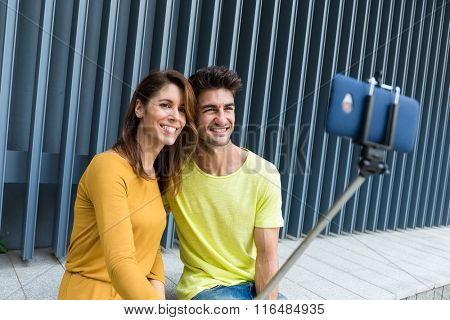 Couple taking photo together