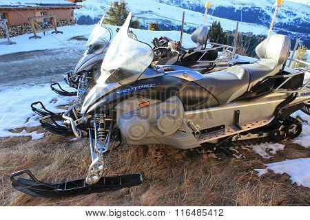 Emergency Services Snowmobiles In Courchevel