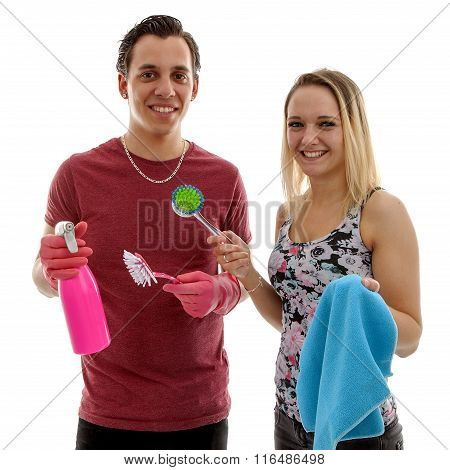 Young Couple With Cleaning Supply