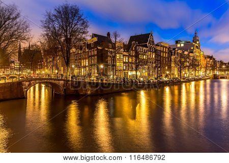 Amsterdam Canals West side at dusk Netherlands