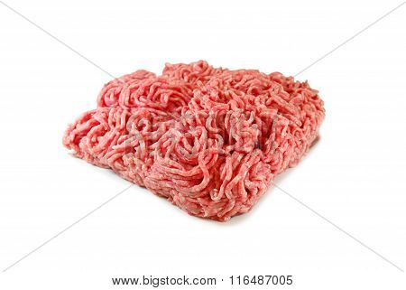 Raw meat. Fresh Minced Pork in a Plate Isolated on White background