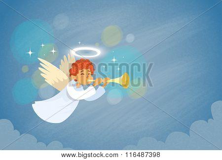 Valentine's Angel Cupid Holding Flute Saint Valentine Holiday