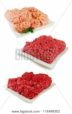 Set of Three Various minced meat. Pork, Beef, Chicken isolated on a white background