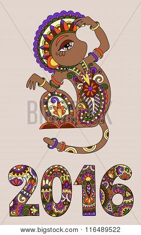 original design for new year celebration with decorative ape and inscription - 2016 Year of The Monkey, vector illustration poster