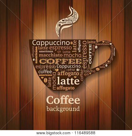 Cup Of Coffee With Word Cloud On Wooden Background
