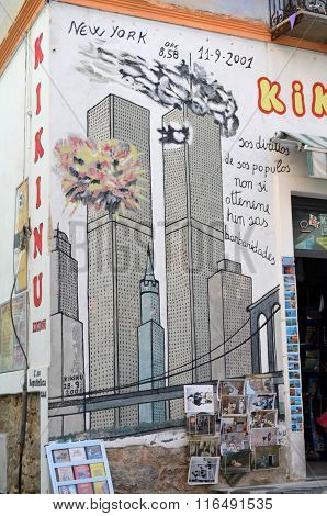 Murals In Remembrance Of The Dead Of September 11 In New York Twin Towers